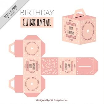 Plantilla de caja de regalo de cumpleaños rosa