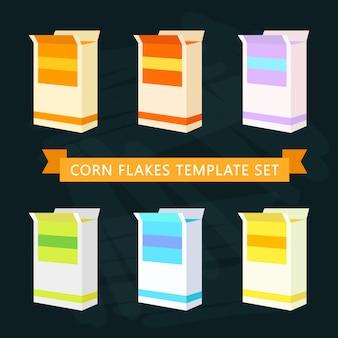 Plantilla de cajas de copos de maíz