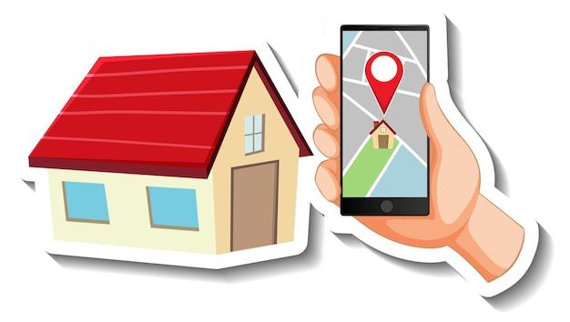 Una plantilla de calcomanía con pin de ubicación en un teléfono inteligente y una casa.