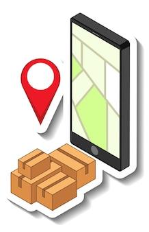 Una plantilla de calcomanía con un teléfono inteligente y ubicación de pin
