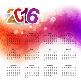Plantilla de calendario 2016 de acuarela