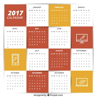 Plantilla de calendario 2017 con iconos