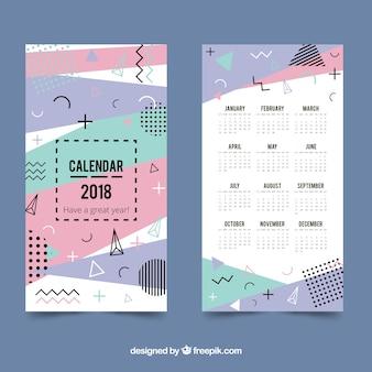 Plantilla de calendario 2018 en estilo memphis