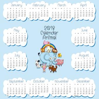Plantilla de calendario para 2018 con muchos animales