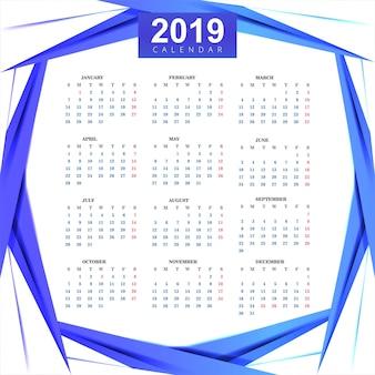 Plantilla de calendario 2019 con fondo de onda