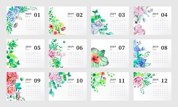 Plantilla de calendario 2019 con hermosas flores de acuarela