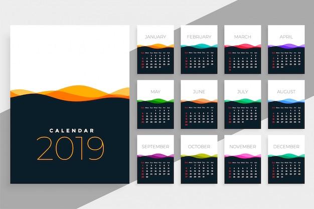 Plantilla de calendario 2019 con ondas de colores