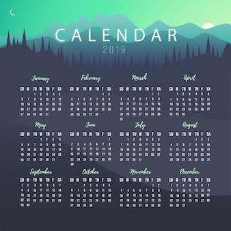 Plantilla de calendario 2019 con paisaje