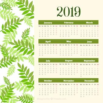 Plantilla de calendario de 2019