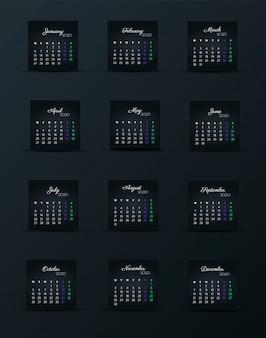 Plantilla de calendario 2020. 12 meses. incluir evento de vacaciones