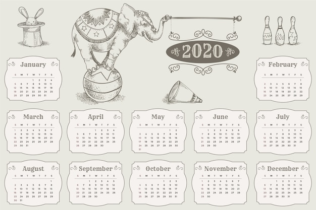 Plantilla de calendario 2020 dibujado a mano