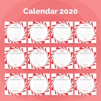 Plantilla de calendario 2020 con ondas de colores
