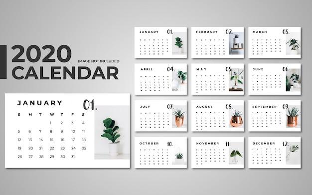 Plantilla de calendario 2020