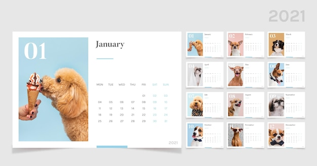 Plantilla de calendario 2021 con animales adorables
