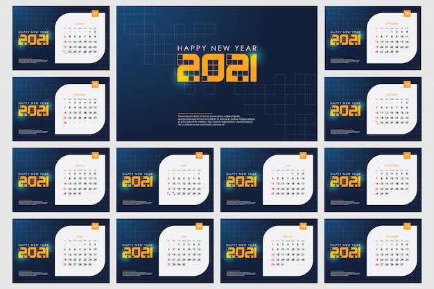 Plantilla de calendario 2021,