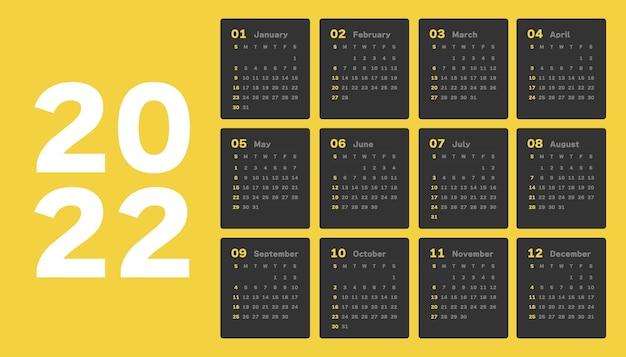 Plantilla calendario 2022
