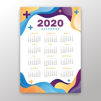 Plantilla de calendario abstracto 2020