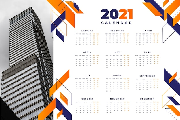 Plantilla de calendario abstracto 2021