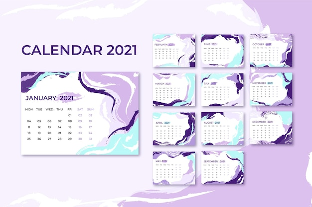 Plantilla de calendario abstracto 2021