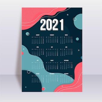 Plantilla de calendario abstracto año nuevo 2021