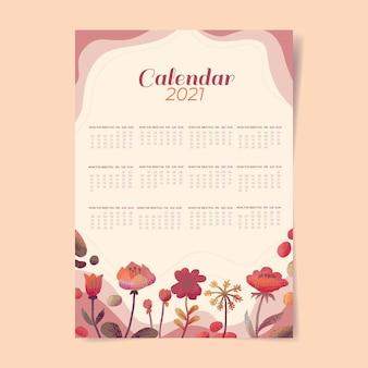 Plantilla de calendario acuarela año nuevo 2021