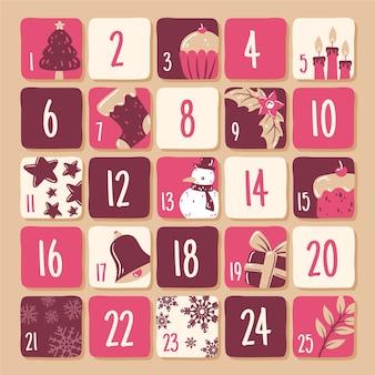 Plantilla de calendario de adviento dibujado a mano