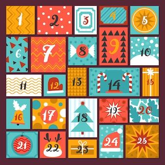 Plantilla de calendario de adviento de diseño plano