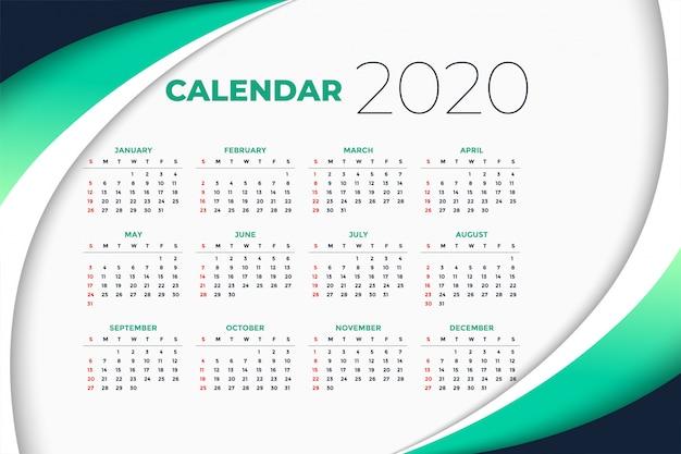 Plantilla de calendario de año nuevo 2020 en estilo empresarial