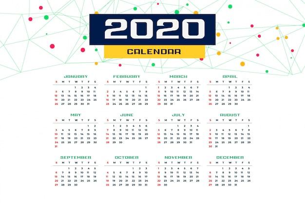 Plantilla de calendario de año nuevo 2020