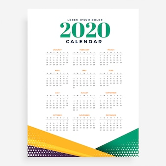 Plantilla de calendario de año nuevo 2020