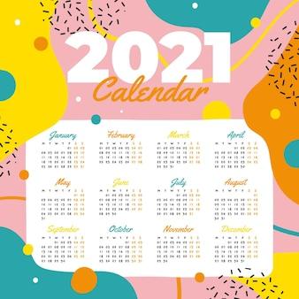 Plantilla de calendario año nuevo 2021 dibujado a mano