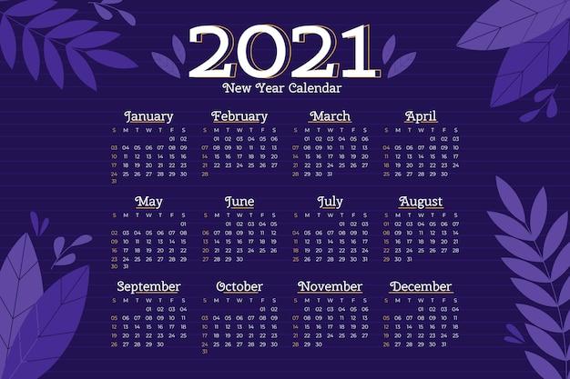 Plantilla de calendario año nuevo 2021 de diseño plano