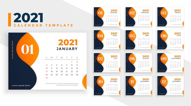 Plantilla de calendario de año nuevo abstracto en tema naranja