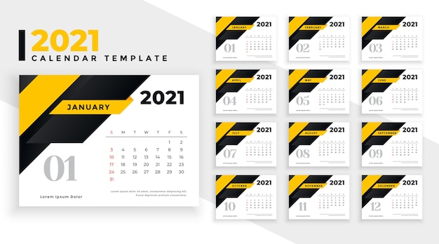 Plantilla de calendario de año nuevo amarillo abstracto