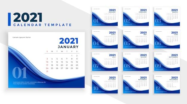 Plantilla de calendario de año nuevo azul abstracto