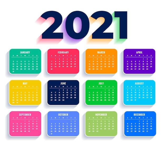 Plantilla de calendario de año nuevo colorido plano