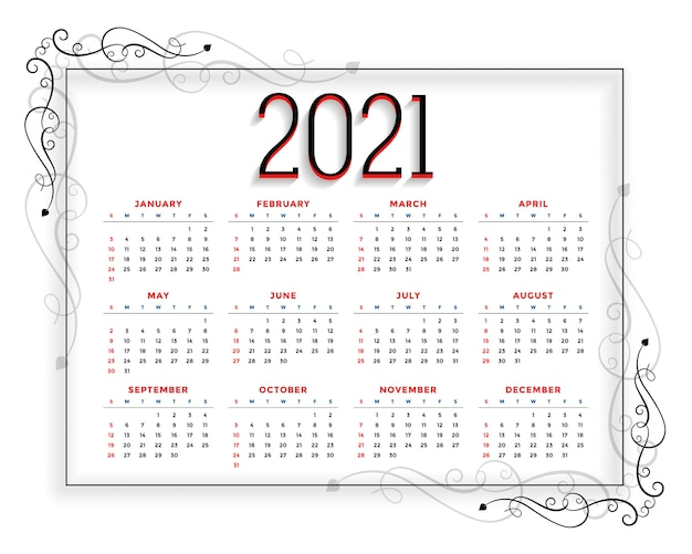 Plantilla de calendario de año nuevo de estilo floral