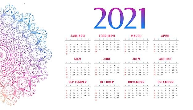 Plantilla de calendario de año nuevo estilo mandala
