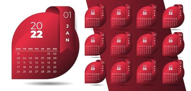 Plantilla de calendario de año nuevo limpio