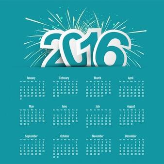 Plantilla de calendario azul de 2016