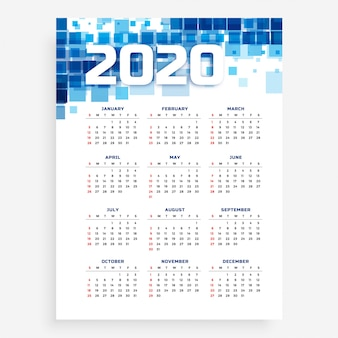 Plantilla de calendario azul vertical 2020