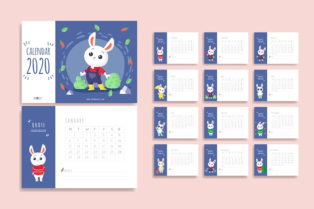 Plantilla de calendario de bunny 2020