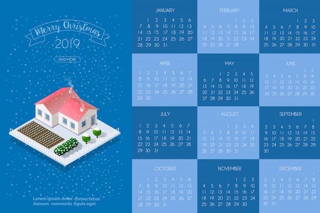 Plantilla de calendario con casa