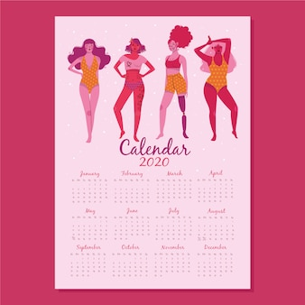 Plantilla de calendario de diseño plano 2020 con grupo de mujeres