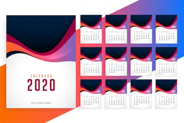 Plantilla de calendario elegante de año nuevo 2020 moderno