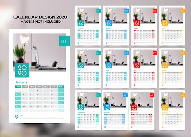 Plantilla de calendario elegante negocio estilo 2020 con vector