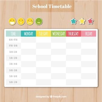 Plantilla de calendario escolar con emoticonos y estrellas