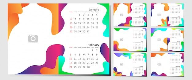 Plantilla de calendario de escritorio 2019 - 12 meses incluidos - arte moderno gradiente tema