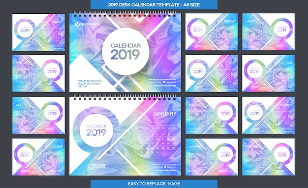 Plantilla de calendario de escritorio 2019