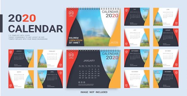 Plantilla calendario de escritorio 2020